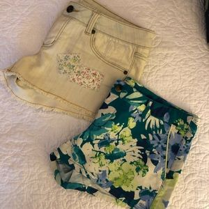 Lot of 2 Merona Mossimo Floral & Denim Shorts